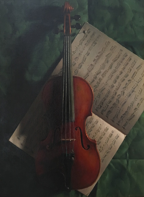 Jacob Collins, 'Violin and Music', 1996, Painting, Oil on canvas, Grenning Gallery
