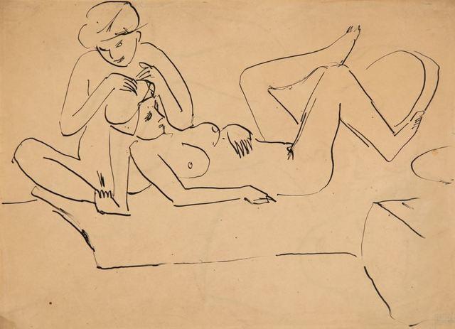 Ernst Ludwig Kirchner, 'Auf Lager sitzender und liegender weiblicher Akt', ca. 1911, Henze & Ketterer