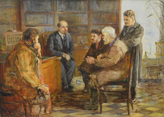 Nadezhda Eliseevna Chernikova, 'Peasants with Lenin', 1962, Surikov Foundation