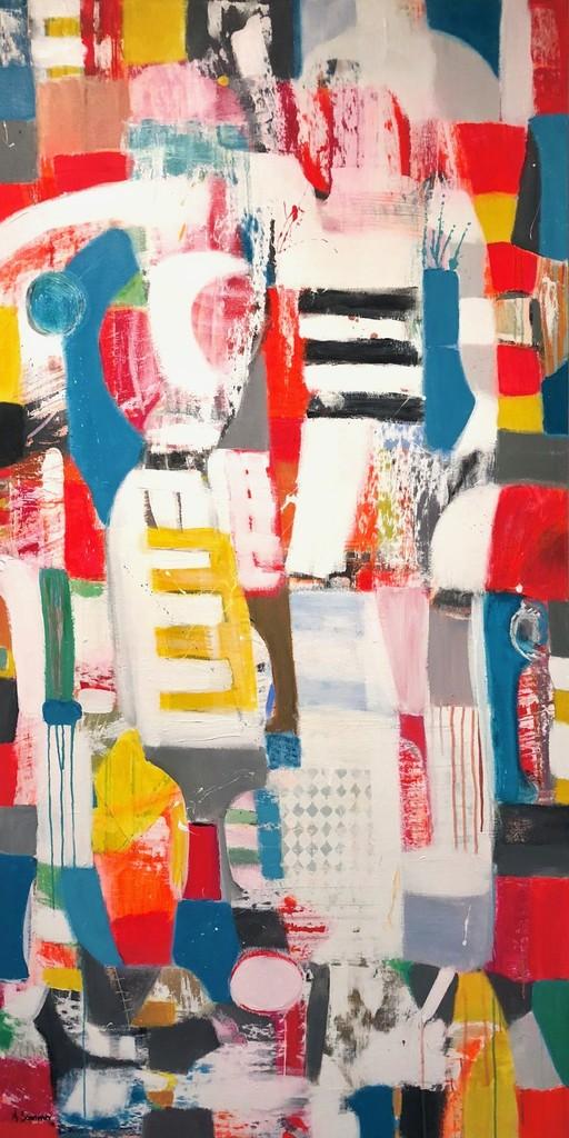 Rebosante. Year 2018. Acrylic on canvas, 183 x 92/72´x 36,2´. Artist: Astrid Sommer