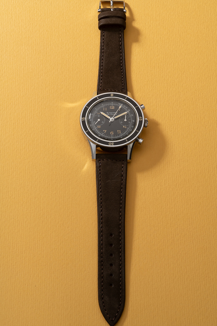 Blancpain, 'An extremely rare, important and large stainless steel fly-back chronograph wristwatch with glossy black dial, tachymeter scale, rotatable bezel and presentation box', Circa 1960s, Phillips