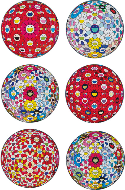 Takashi Murakami, 'Thinking Matter (Red); Cosmic Power; Space Show; Flowerball: Bright Red; Flowerball: Koi/Red-crowned Crane Vermilion; and Hold Me Tight', 2016-17, Phillips