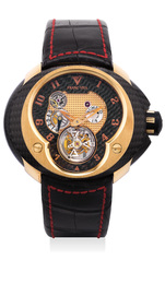 A fine and unusual limited edition pink gold and carbon-fiber tourbillon wristwatch with power reserve, International Warranty and box, numbered 1 of a limited edition of 8 pieces