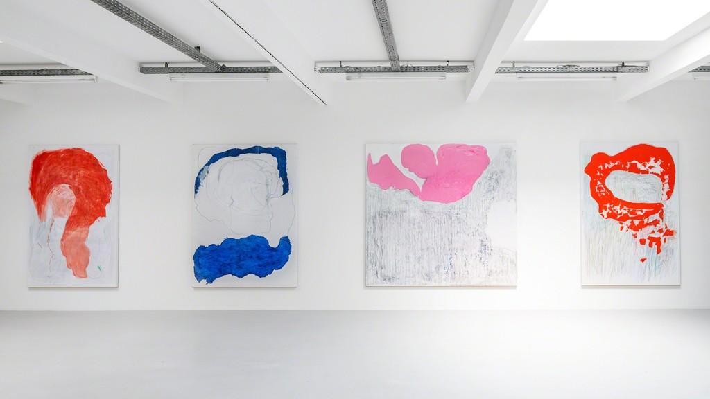 Gonn Mosny, Ausstellungsansicht, Kunstraum Innsbruck, 2017. v.l.n.r.: Gonn Mosny, LW 211, 200 cm x 130 cm, 2016 LW 214, 200 cm x 150 cm, 2016 LW 237 200 cm x 216 cm, 2017 LW 226, 200 cm x 140 cm, 2017 courtesy by the artist and Volker Diehl Gallery. Foto: Verena Nagl