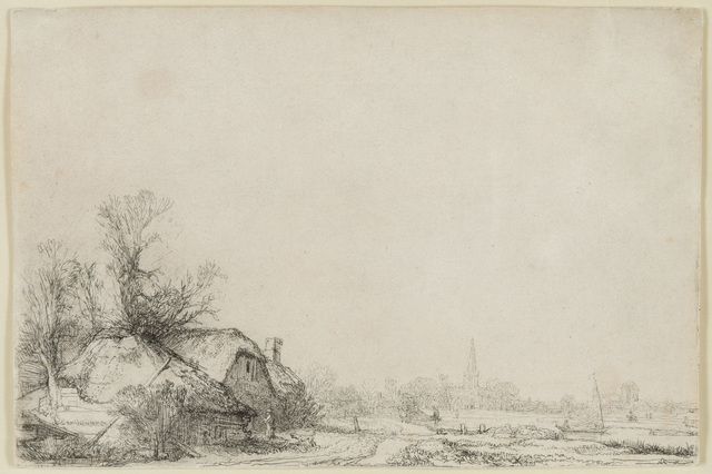Rembrandt van Rijn, 'Cottage Beside a Canal With a View of Ouderkerk', ca. 1641, Print, Etching, Christopher-Clark Fine Art