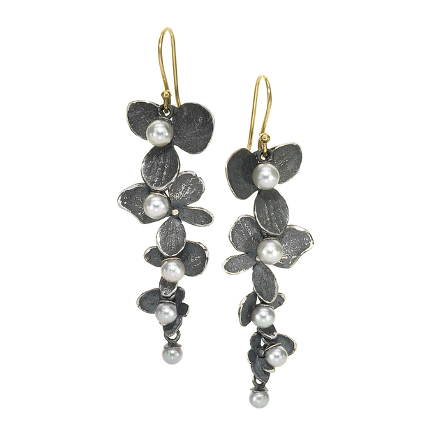 , ' Silver Pearl Oxidized Silver Hydrangea Petal Drop Earrings,' 2016, Szor Collections