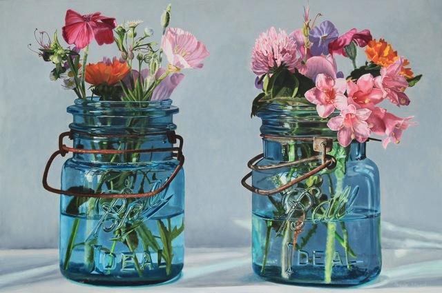 , 'Two Blue Jars with Pink Flowers,' , George Billis Gallery