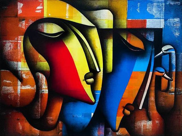 """Jagannath Paul, 'Bond of Love Series, Charcoal & Acrylic on Canvas, by Indian Artist """"In Stock""""', 2017, Gallery Kolkata"""