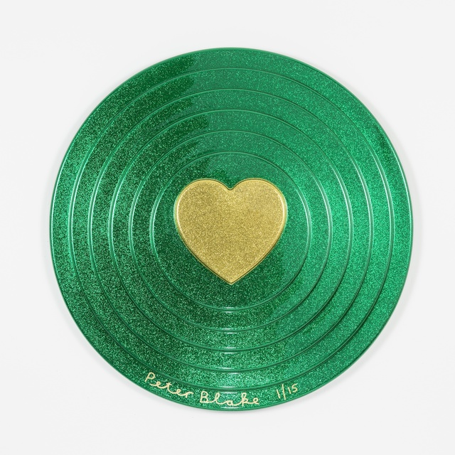 , 'Gold heart on green (metal flake),' 2017, Paul Stolper Gallery