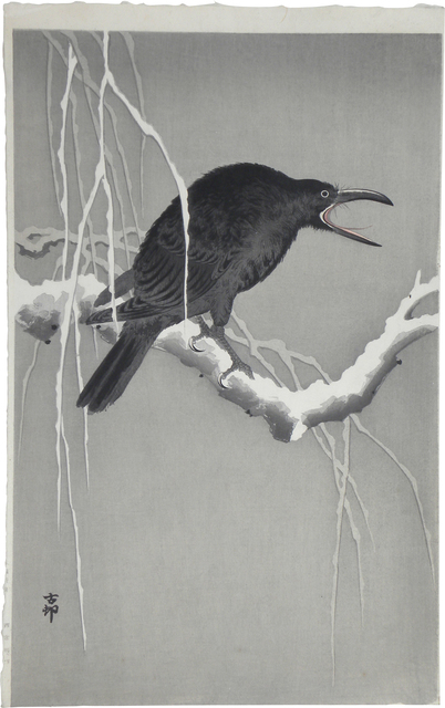 , 'Cawing Crow on a Snowy Branch,' , Scholten Japanese Art