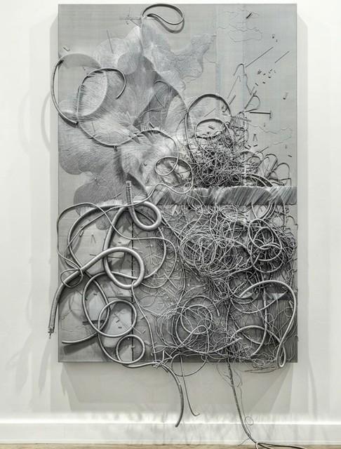 Lin Tianmiao, 'Black White Gray-Gray', 2013, Mixed Media, Silk cloth, silk thread, polyurea, wooden frame, NUNU FINE ART