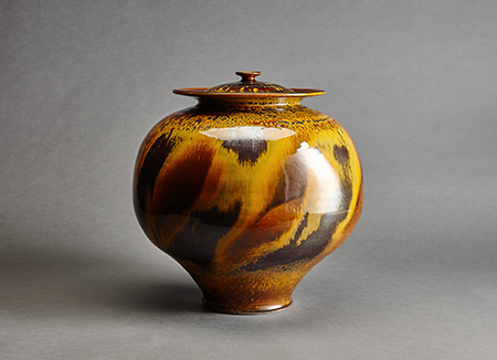 , 'Vase with lid, iron yellow glaze,' , Pucker Gallery