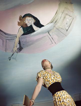 Horst P. Horst, 'Dress by Jo Copeland, Murals by Marcel Vertes', 1946, Bernheimer Fine Art