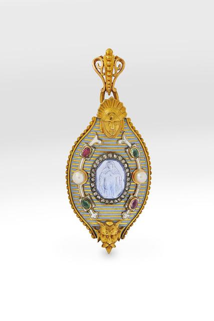 Alexis Falize, 'Enamelled gold gem and pearl-set pendant ', ca. 1860, Wartski