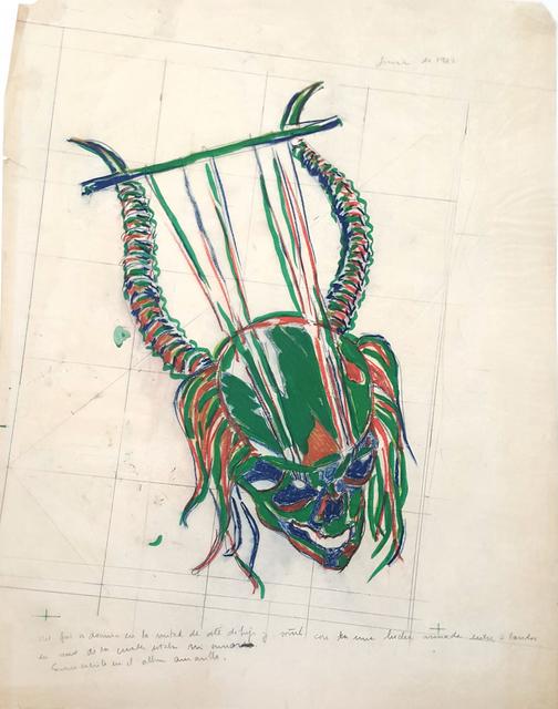 """Luis Frangella, 'Boceto para la serigrafía """"Soñé con una Lucha"""" (Sketch for serigraphy """"I dreamed of a fight"""")', 1982, Cosmocosa"""