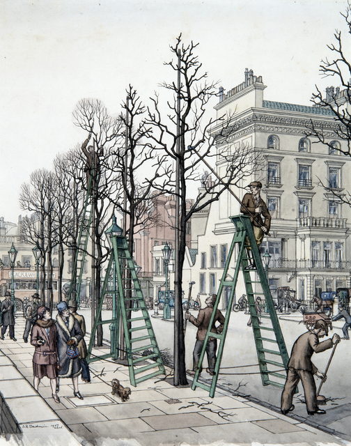 , 'Preparing London for the Summer: Exhibition Road, South Kensington,' 1927, Chris Beetles Gallery
