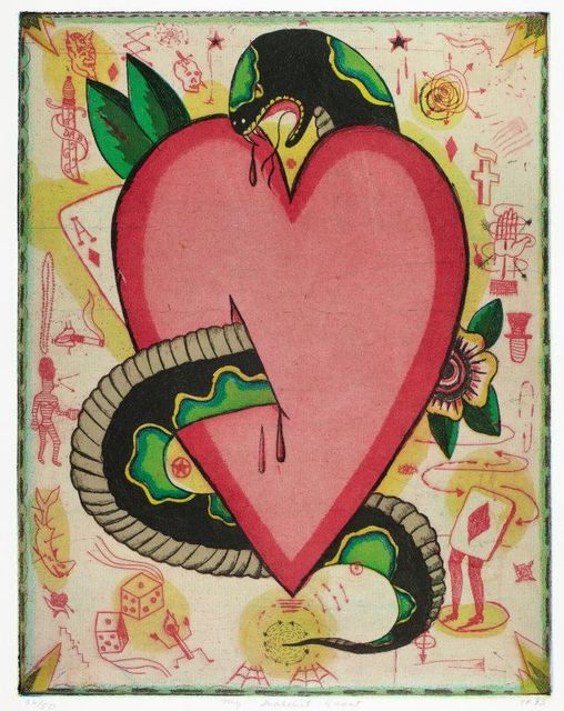 Tony Fitzpatrick, 'My Snakebit Heart', 1993, Print, Etching on paper, projects+gallery