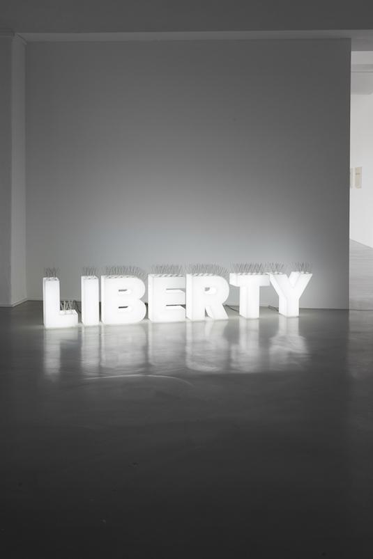Šejla Kamerić Liberty, 2015 Plexiglas, led lights, metal spikes 51 × 193 × 20 cm Courtesy Galerie Tanja Wagner, Berlin Photo: Franziska von den Driesch