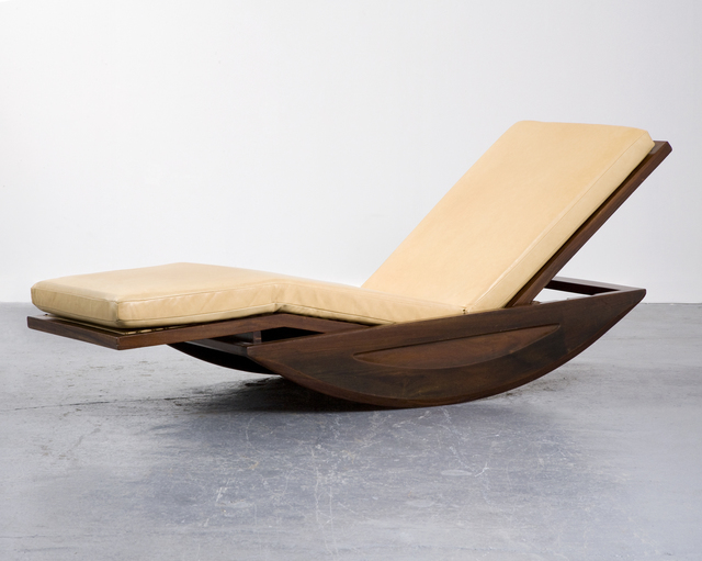 , 'Rocking chaise lounge in solid rosewood with upholstered cushion,' 1947, R & Company