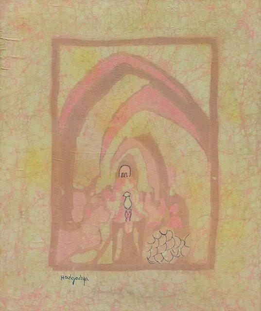 Miriam Hadgadya, 'Early Israeli Batik on Silk Painting Jerusalem Landscape with Figure Bezalel', 20th Century, Lions Gallery