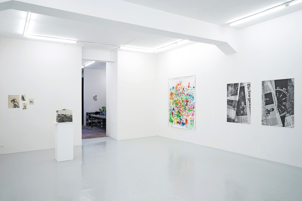 Installation view When the facts change, I change my mind with works by Benedikte Bjerre, Anne-Lise Coste, Slawomir Elsner, Jonathan Monk, Andreas Slominski and Sandra Vásquez de la Horra. Lullin + Ferrari, Zurich, 2019