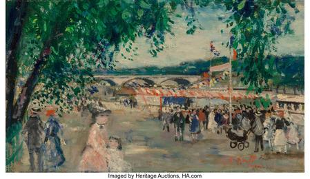 Famille Gall vers le bateau mouche sous le Pont de la Concorde, 14 Juillet