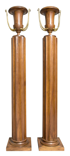 'Pair of Art Moderne Brass and Walnut Torchere Uplights', Design/Decorative Art, Urn-form on fluted pedestal on square base., Doyle