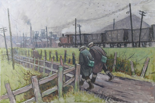 Norman Cornish, 'Walking to the pit with train', Castlegate House Gallery