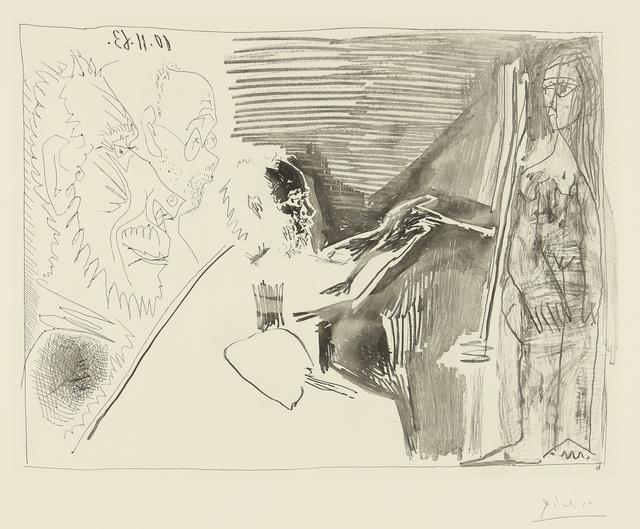 Pablo Picasso, 'Peintre et modèle debout avec deux spectateurs (B. 1126; Ba. 1121)', 1963, Print, Aquatint, etching and hand-biting, Sotheby's