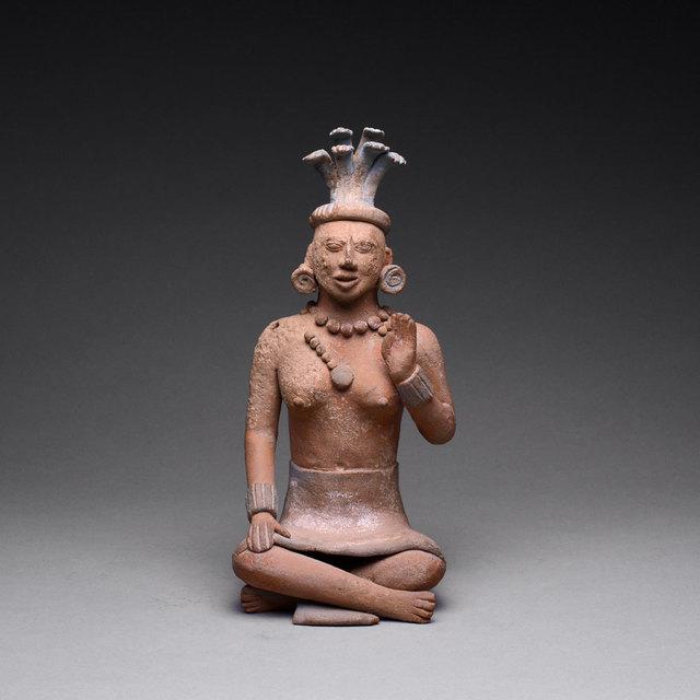 Mayan, 'Jaina Style Mayan Terracotta Sculpture of a Seated Woman', 600 AD to 900 AD, Barakat Gallery