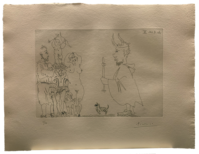 Pablo Picasso, ' Le Cocu devant un groupe avec le Séducteur et l'Amour', 1966, Galerie Raphael