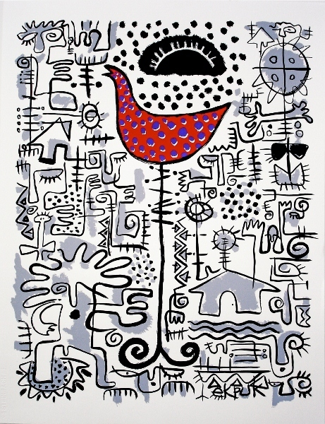 Victor Ekpuk, 'Cockcrow at Dawn', 2006, Drawing, Collage or other Work on Paper, Lithograph on paper, Morton Fine Art