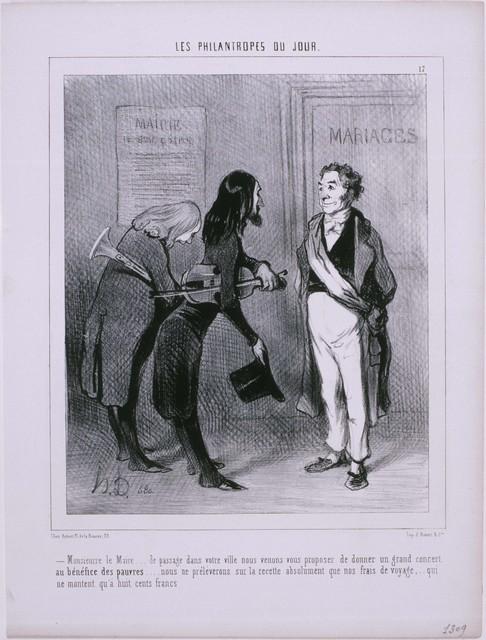 Honoré Daumier, 'Les Philantropes du Jour: Monsieur le Maire…De passage dans votre ville…', 1844, Phillips Collection