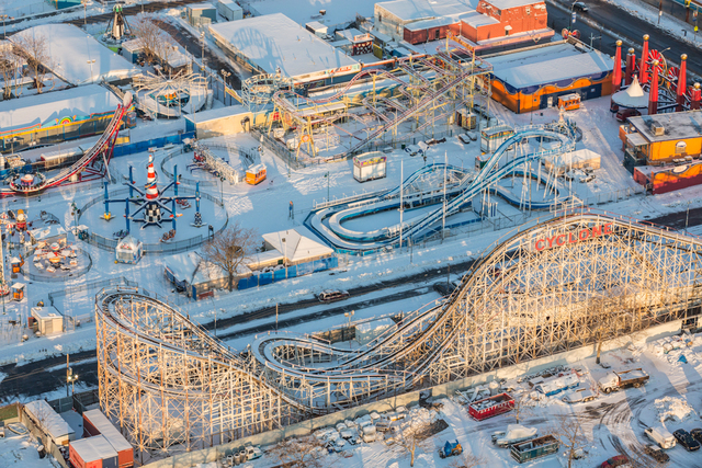 , 'Coney Island's Luna Park hibernates under a soft blanket of snow.,' 2014, Anastasia Photo