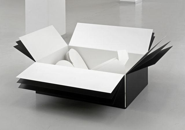 , 'In a landscape reacting to words, weiße Schattenversion dreifach in weißer Kartonform einfach in schwarzer Kartonform zweifach,' 2013, KAI 10 | Arthena Foundation