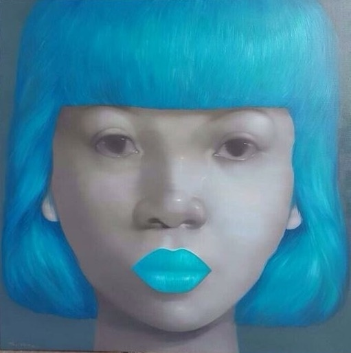 Attasit Pokpong, 'GIRL WITH LIGHT BLUE HAIR AND LIP', 2015, S.A.C. Gallery Bangkok