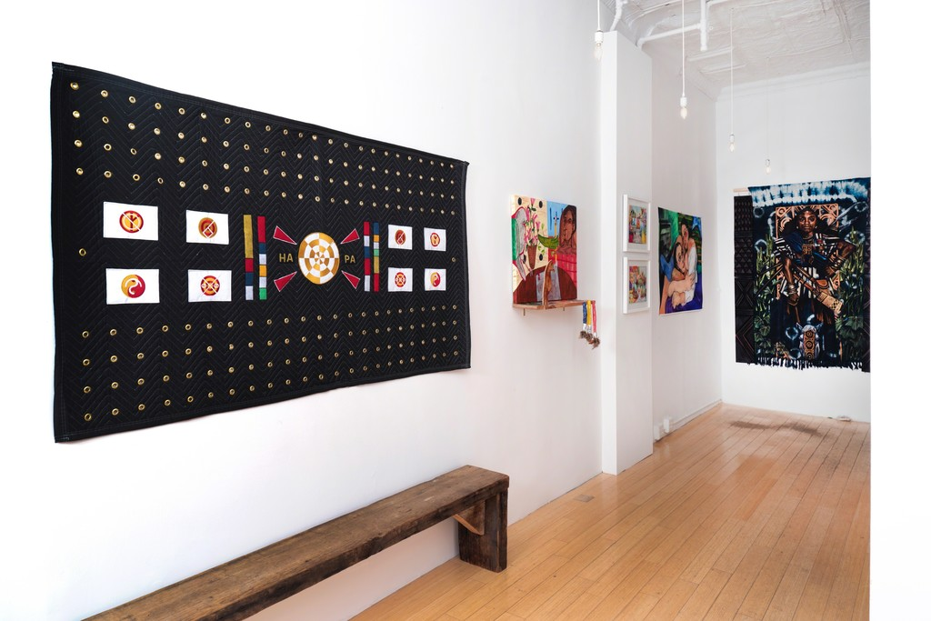 Us, Installation View, Us, Courtesy of Ed. Varie. Clockwise, artwork by Kiji McCafferty, Yoo Hee Chang, Nicolas Atkins, Alina Perez and Stephen Hamilton.