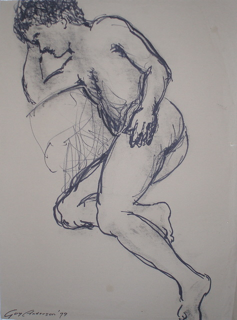 , ' Male Nude Signed 1979 19x25,' 1979, WaterWorks Gallery