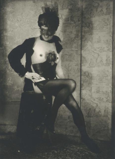 , 'Autoportrait au tabouret avec corset, jarretelles, masque, voilette et rose,' ca. 1965, Galerie Christophe Gaillard