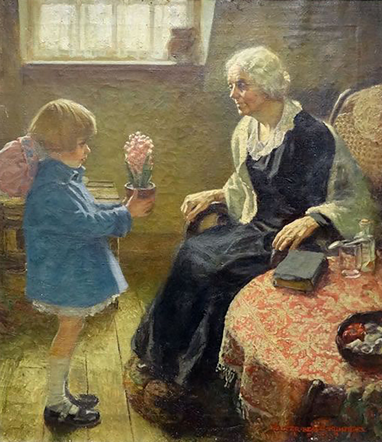 Walter Beach Humphrey, 'Flowers for Her Grandmother', 1924, Painting, Oil on Canvas, The Illustrated Gallery