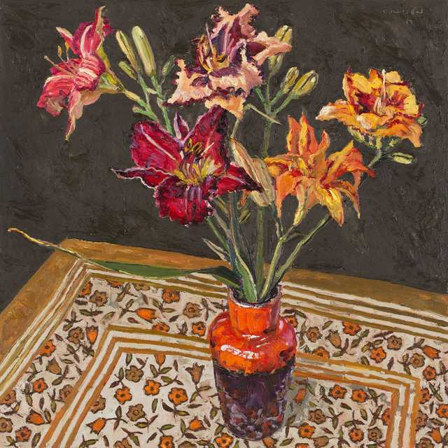 , 'Day lilies, orange vase,' 2018, Jan Murphy Gallery