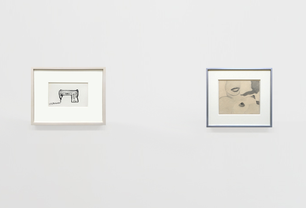 Andy Warhol Sewing Machine authenticated 1952 ink on paper & Tom Wesselmann Great American Nude, 1965,  graphite drawing at Joseph K. Levene Fine Art, Ltd.