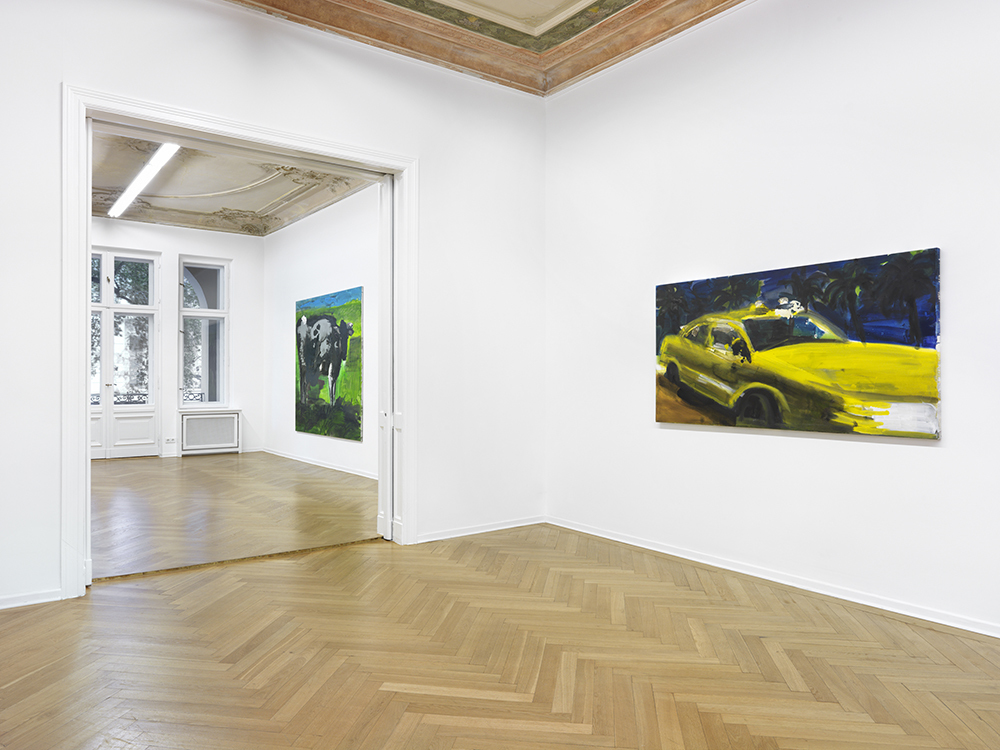 """Installation view. Rainer Fetting """"Taxis, Monsters and the Good Old Sea"""", A3, Berlin, Germany. October 26, 2017 - January 14, 2018. Photo: Bernd Borchardt"""