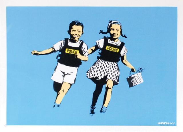 Banksy, 'Jack & Jill (Police Kids) (unsigned)', 2005, Robin Rile Fine Art
