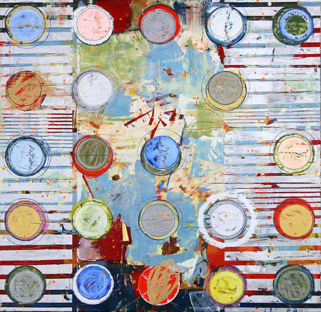 "Jylian Gustlin, '""Fibonacci 414"" Abstract mixed media painting with red, white, yellow and blue', 2019, Eisenhauer Gallery"