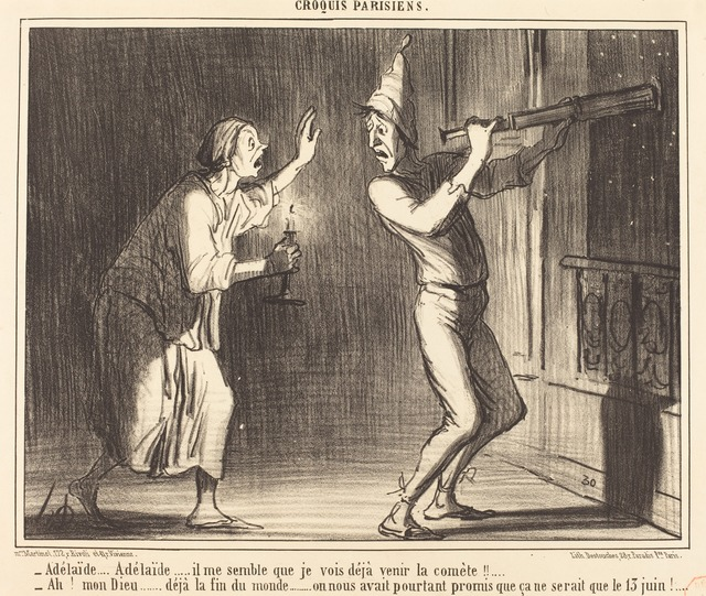 Honoré Daumier, 'Adélaide...Adélaide...il me semble que je vois deja venir la comète !!...', published 1857, National Gallery of Art, Washington, D.C.