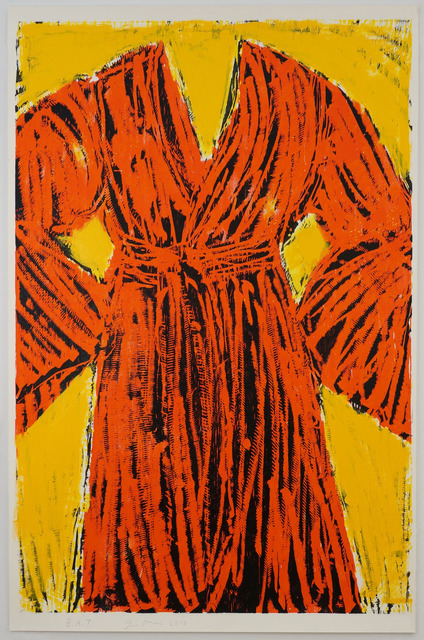 Jim Dine, 'Chrome Yellow Robe', 2013, Print, Woodcut with yellow enamel hand painting, Cristea Roberts Gallery