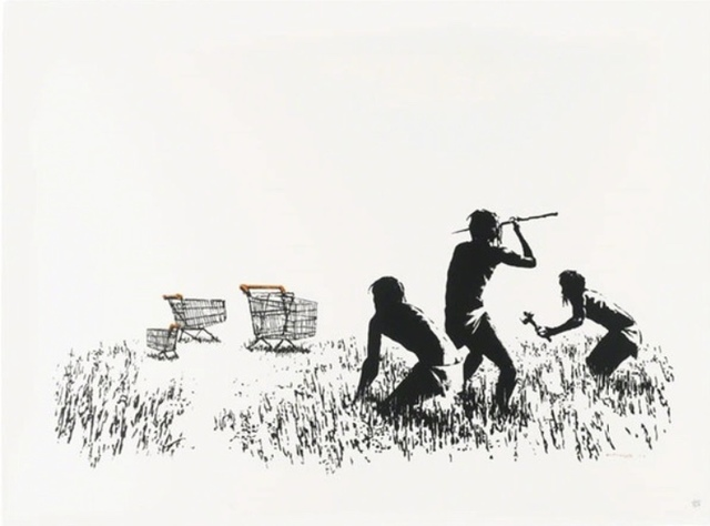 Banksy, 'Trolleys (Black and White) Signed', 2007, 5ART GALLERY