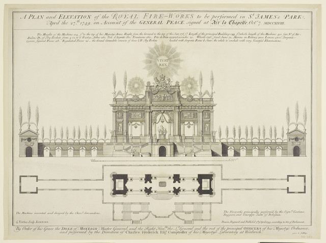, 'A Plan and elevation of the Royal Fireworks in St. James's Park ,' 1749, Royal Collection Trust