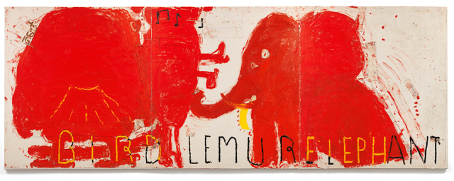 , 'Red Painting: Bird, Lemur, & Elephant,' 2016, CHOI&LAGER